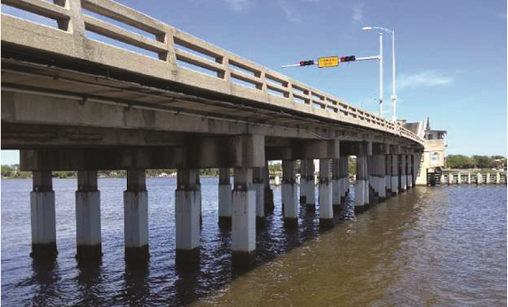 The Veterans Memorial Bridge with galvanic zinc mesh jackets installed showed that cathodic protection is best means of rehabilitating reinforced concrete structures in or near marine environments.