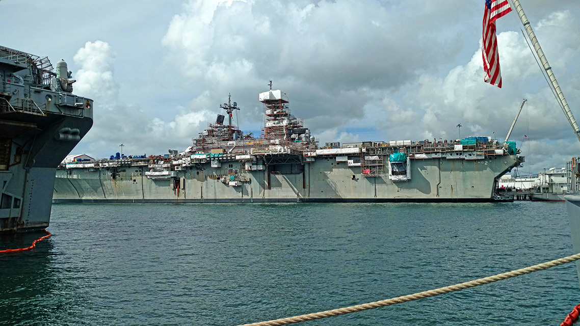 The Ship's Force on the USS Essex had requested a repaint of the entire 105,000-square- foot (9,754.8 m2) freeboard, but with a product that performed better than traditional silicone alkyds.  Photo courtesy of GK Consulting, LLC and NCP Coatings Inc.