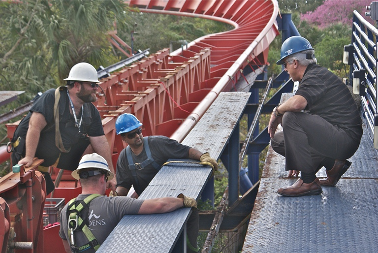 Much pre-work and coordination goes into recoating an amusement park roller coaster.  Photo courtesy of Service Painting Corp.